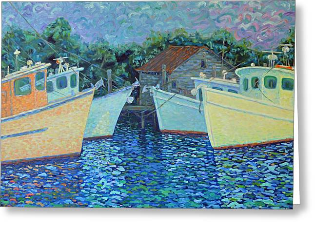 Divisionistic Shrimp Boats Greeting Card by Dwain Ray