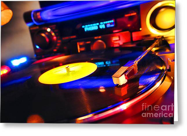 Dj 's Delight Greeting Card by Olivier Le Queinec