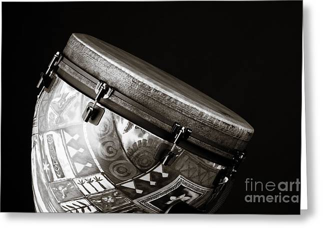 Djembe Latin Or African Drum Photograph In Sepia 3331.01 Greeting Card by M K  Miller