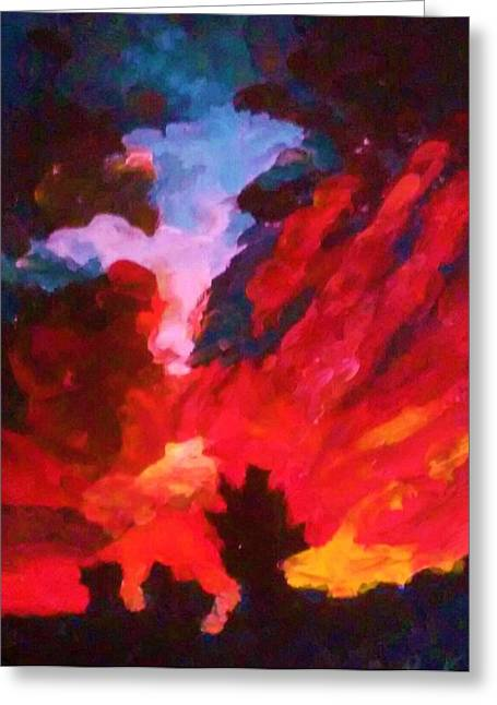 Greeting Card featuring the painting Dk Sunset by Ray Khalife