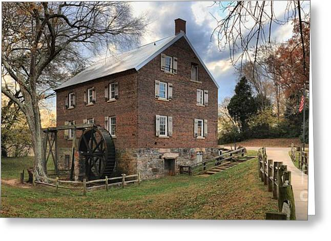 Sloan Park Kerr Grist Mill Panorama Greeting Card by Adam Jewell