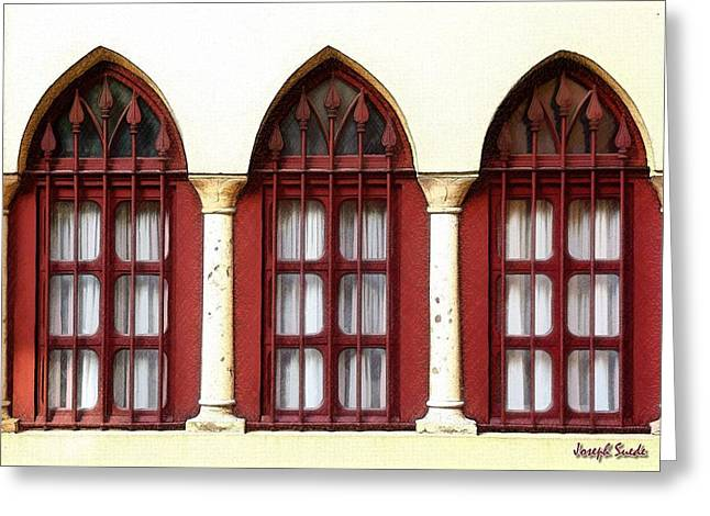 Greeting Card featuring the photograph Do-00368 The 3 Windows Downtown by Digital Oil