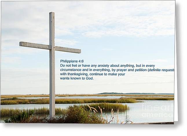 Belin Church Cross At Murrells Inlet With Bible Verse Greeting Card by Vizual Studio