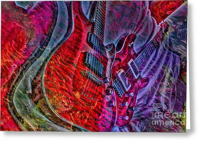 Do Not Let The Music Die Digital Guitar Art By Steven Langston Greeting Card by Steven Lebron Langston