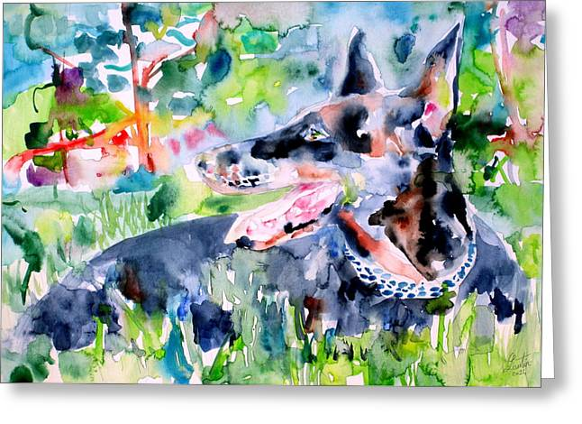 Doberman - Watercolor Portrait Greeting Card by Fabrizio Cassetta