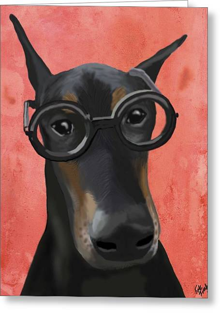 Doberman With Glasses Greeting Card by Loopylolly