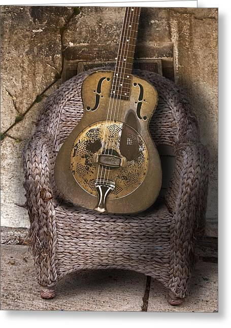 Dobro Guitar Greeting Card by Larry Butterworth