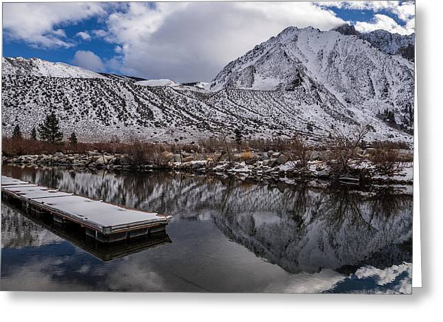Dock At Convict Lake Greeting Card by Cat Connor