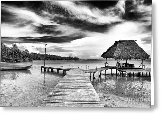 Dock At Drago Greeting Card by John Rizzuto