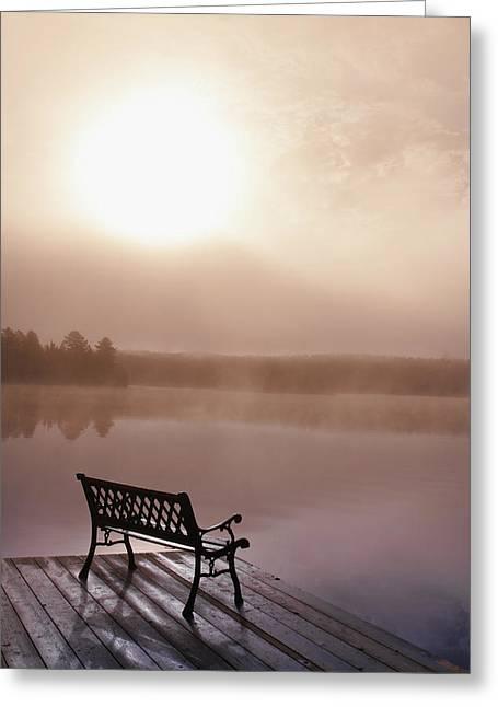 Dock In Morning Fog, Oxtongue Lake Greeting Card by Doug Hamilton