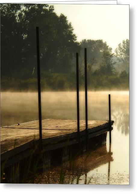 Dock In The Mist Greeting Card by Kimberleigh Ladd