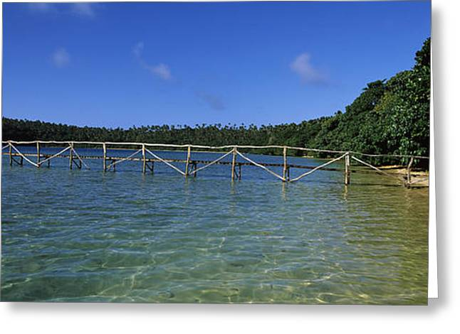 Dock In The Sea, Vavau, Tonga, South Greeting Card by Panoramic Images