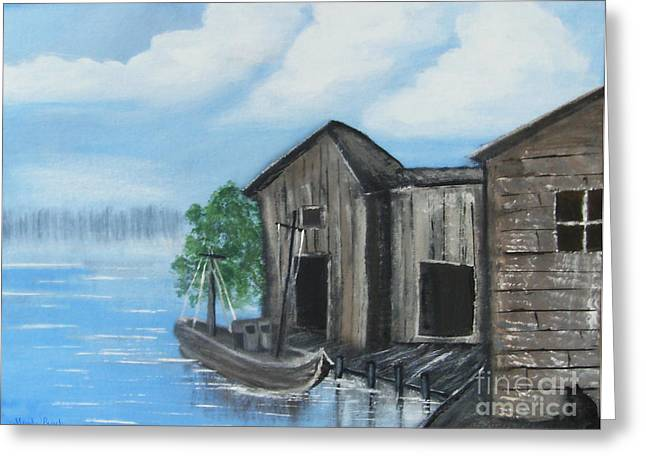 Greeting Card featuring the painting Docked At Bayou by Mindy Bench