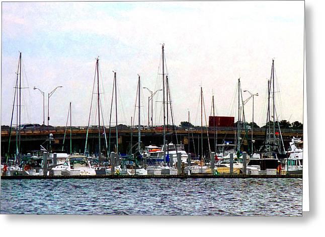 Docked Boats Norfolk Va Greeting Card