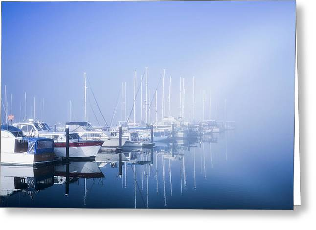 Docked Boats On A Foggy Morning Greeting Card