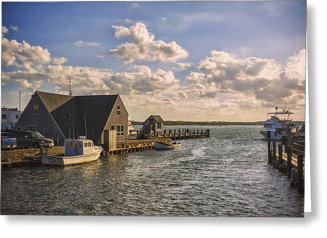 Docked Boats Woods Hole Cape Cod Ma  Greeting Card
