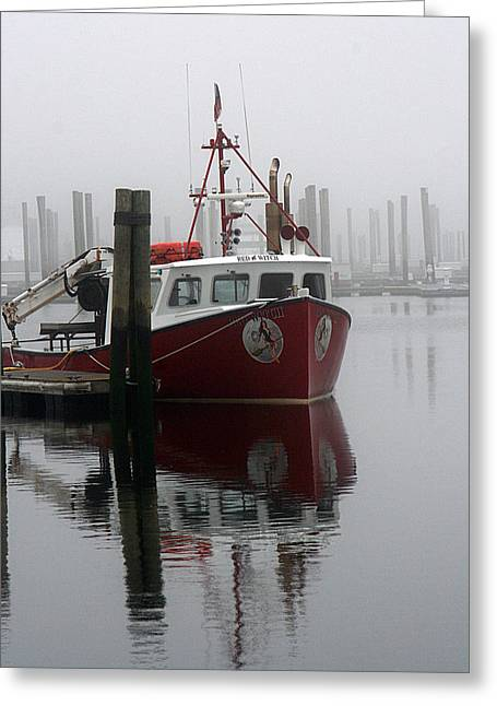 Docked In Fog Greeting Card