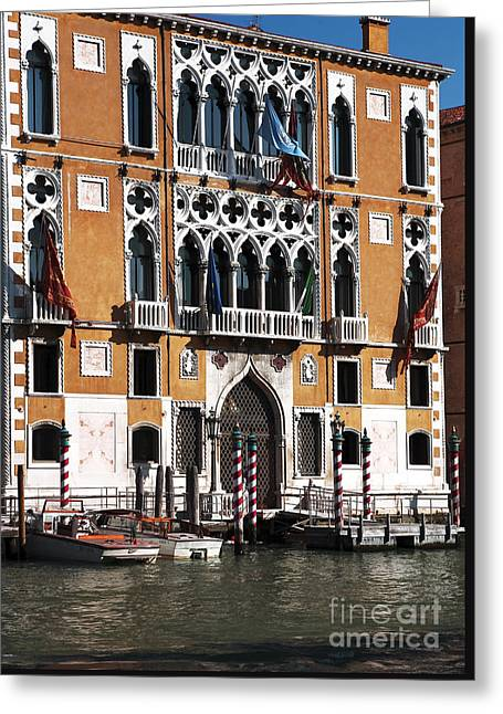 Docked In Venice Greeting Card by John Rizzuto