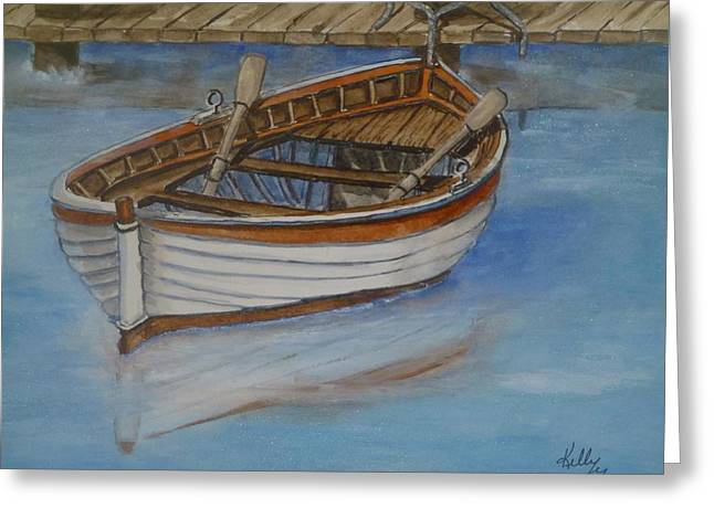 Docked Rowboat Greeting Card by Kelly Mills
