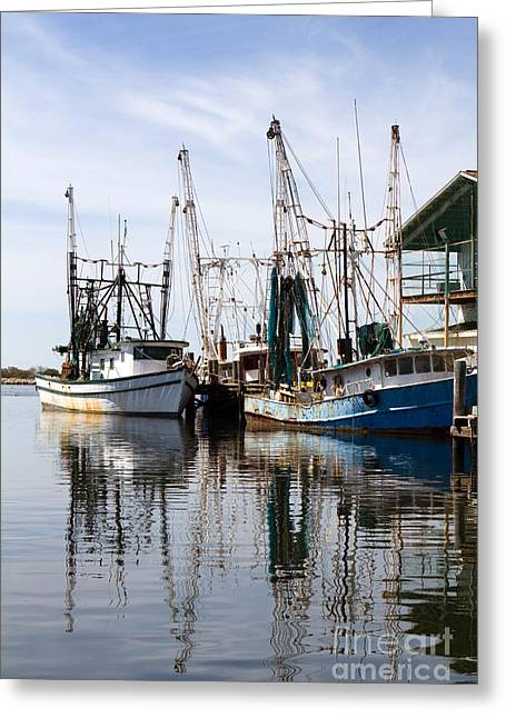 Docked Shrimp Boats Greeting Card