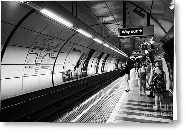 docklands light railway dlr underground bank station London England UK Greeting Card by Joe Fox