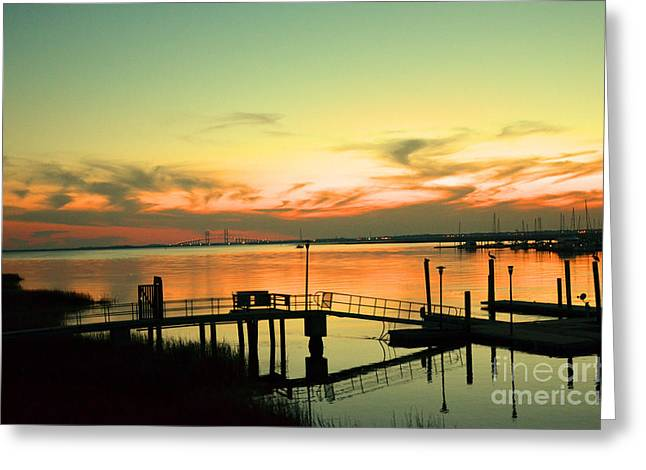 Docks At Dusk Greeting Card