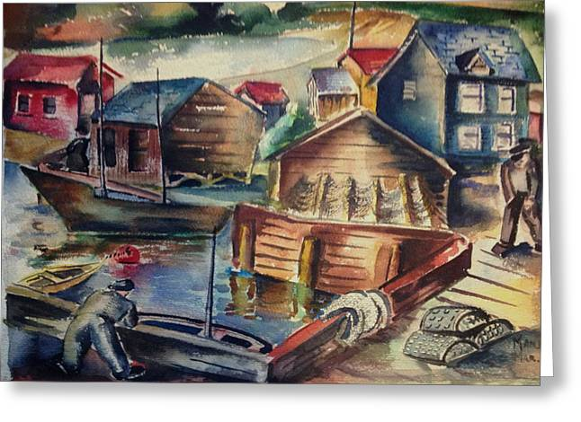 Dockside Greeting Card by Maxwell Mandell