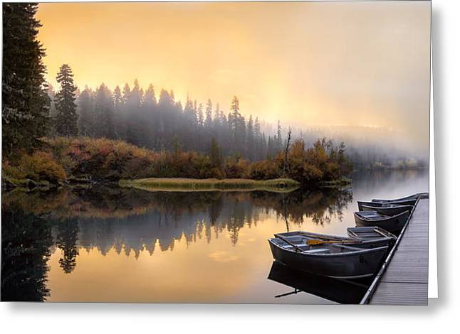 Dockside Sunrise Greeting Card by Joel Zak