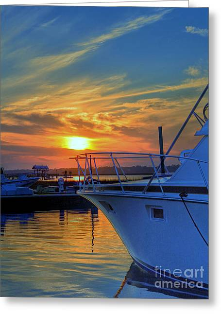 Dockside Sunset Greeting Card by Kathy Baccari