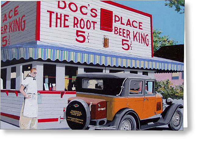 Docs Root Beer East Sacramento Greeting Card by Paul Guyer