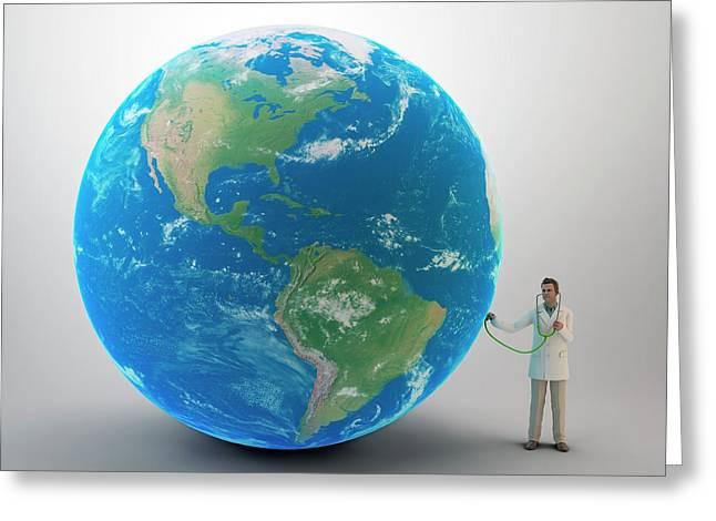 Doctor Examining Planet Earth Greeting Card by Andrzej Wojcicki