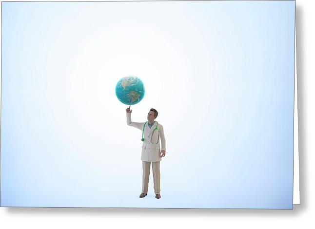 Doctor Holding Planet Earth Greeting Card by Andrzej Wojcicki