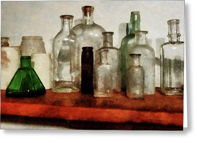 Doctor - Medicine Bottles Tall And Short Greeting Card by Susan Savad