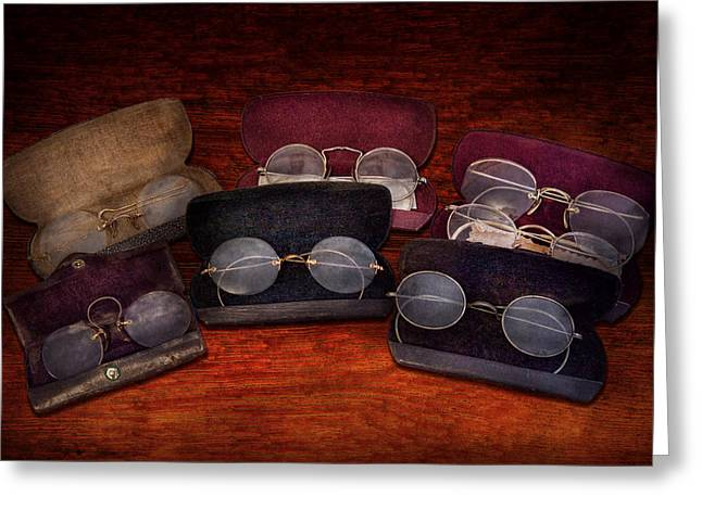 Doctor - Optometrist - Array Of Opticals Greeting Card by Mike Savad