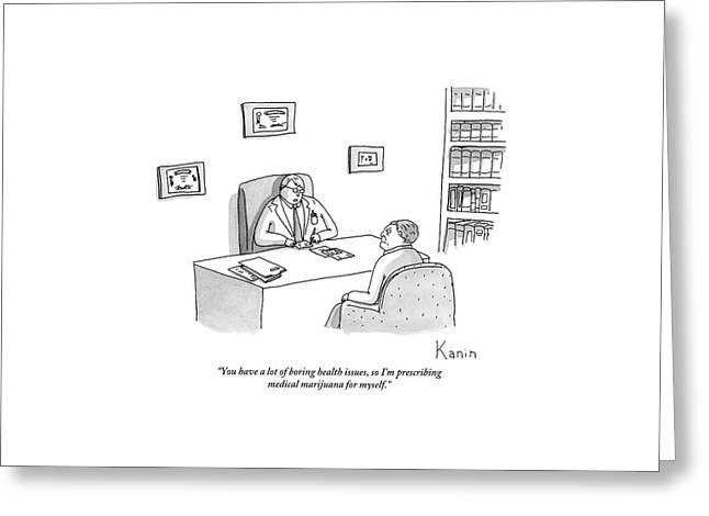 Doctor Speaks To Patient Over Desk Greeting Card by Zachary Kanin