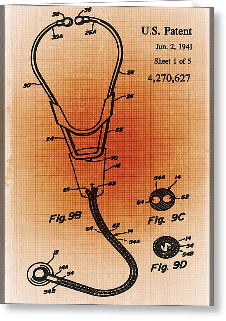 Doctor Stethoscope 2 Patent Blueprint Drawing Sepia Greeting Card