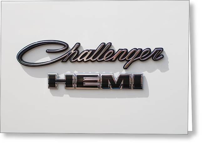 Dodge Challenger Hemi Emblem Greeting Card by Jill Reger