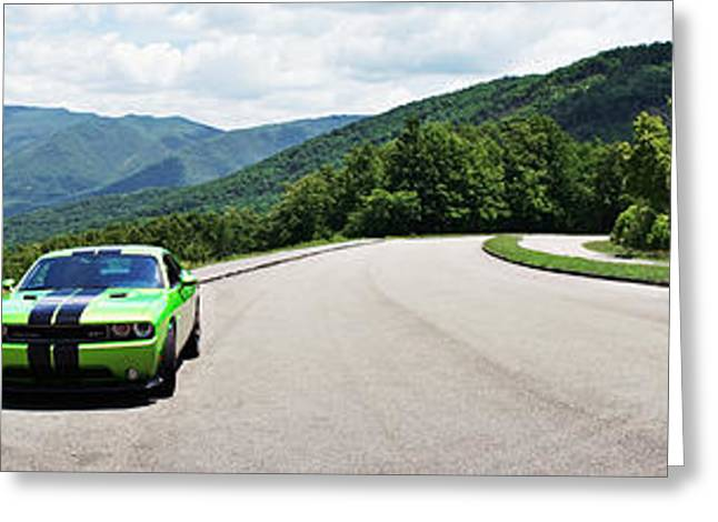 Dodge Challenger Srt Green With Envy Panoramic  Greeting Card by Sharon Popek