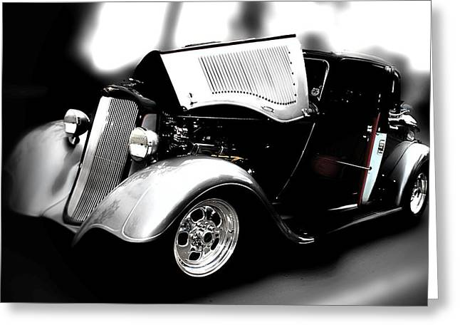 Black And White Greeting Card featuring the photograph Dodge Power by Aaron Berg