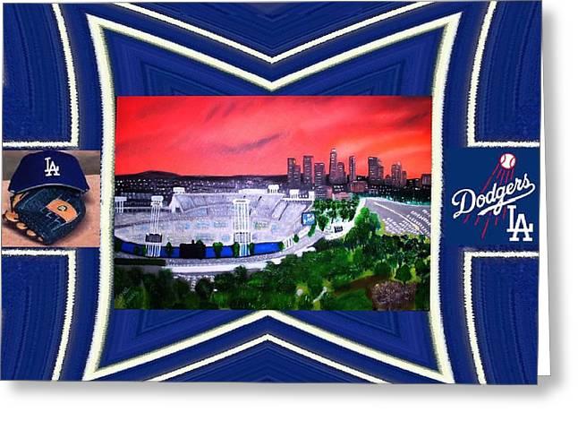 Dodger Stadium Framed Greeting Card by Israel  A Torres