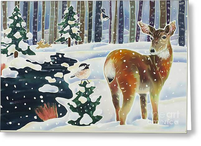Doe And The Chickadee Greeting Card by Harriet Peck Taylor
