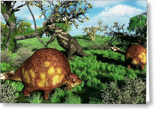 Doedicurus Mammals Greeting Card by Walter Myers