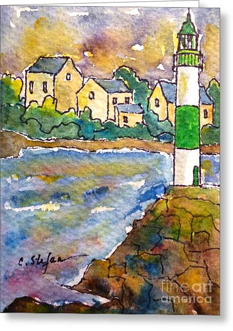 Doelan Lighthouse - France - Watercolor Greeting Card