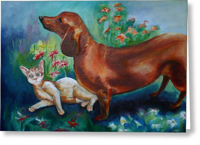 Dog And Cat In The Garden Greeting Card