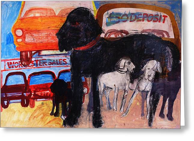 Dog At The Used Car Lot, Rex Gouache On Paper Greeting Card by Brenda Brin Booker