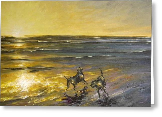 Greeting Card featuring the painting Dog Beach by Dina Dargo