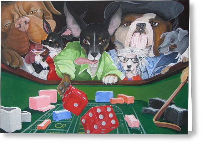 Dog Craps Greeting Card by Suzanne Rende-Chorno