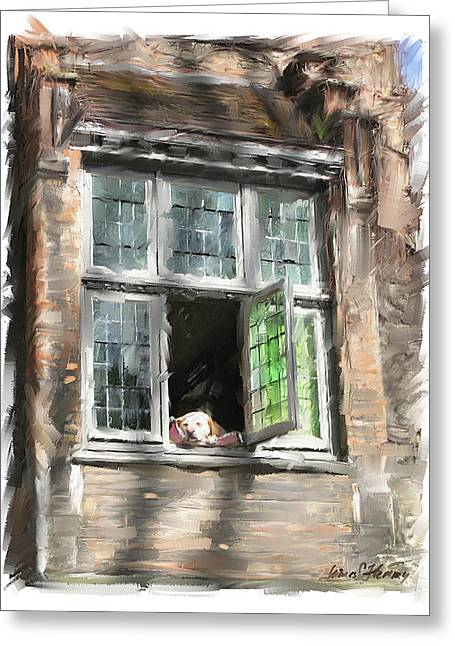 Dog In Window- Bruges Greeting Card by James Scott Fleming