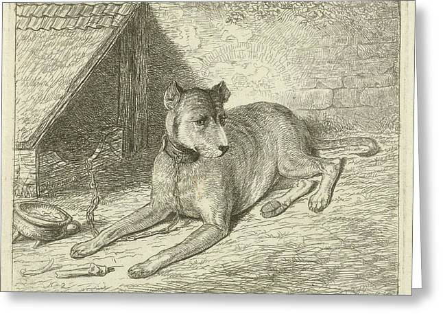 Dog On A Chain In A Doghouse, For Him A Bone Greeting Card by Johannes Mock