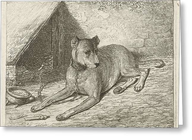 Dog On A Chain With A Doghouse, Johannes Mock Greeting Card